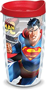 Tervis Superman Tumbler with Wrap and Red Lid 10oz Wavy, Clear