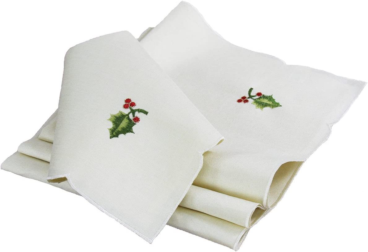 Xia Home Fashions Winter Berry Embroidered Christmas Napkins (Set of 4), 21 by 21""