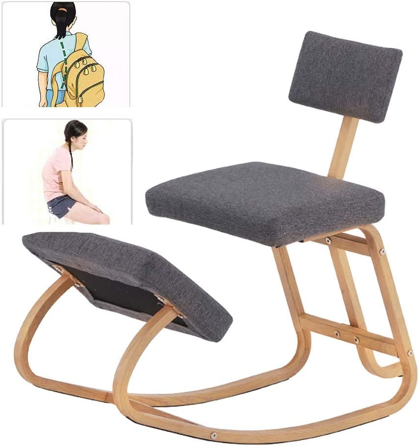 Anti-Hunchback Rocking Chair, Improve Blood Circulation, Kneeling Rocking seat, Ideal for Office and Home, Best Gift, Gray