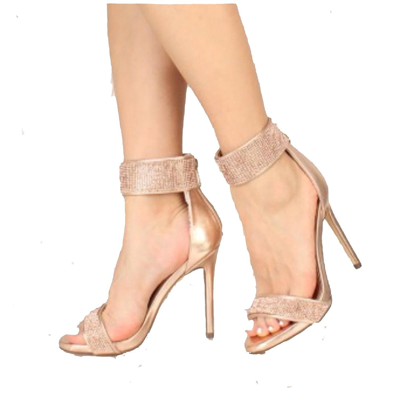 e01d8444ed3 Amazon.com   Liliana Hozzo-7 Rose Gold Rhinestone Encrusted Ankle ...