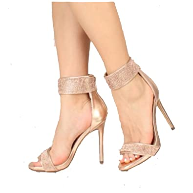 327c831d2b416 Liliana Hozzo-7 Rose Gold Rhinestone Encrusted Ankle Strap Open Toe  Stilettos (5.5)