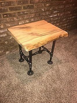 Amazon.com: Industrial tubo y mesa auxiliar de madera Live ...