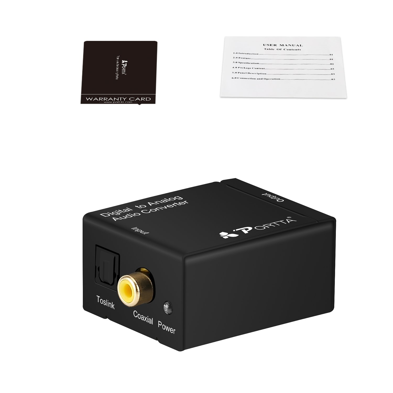 Portta petdta Digital Coax Coaxial Optical Toslink a Analog Audio Convertidor Converter Digital a analógico con Cable Digital/Analog Converter: Amazon.es: ...