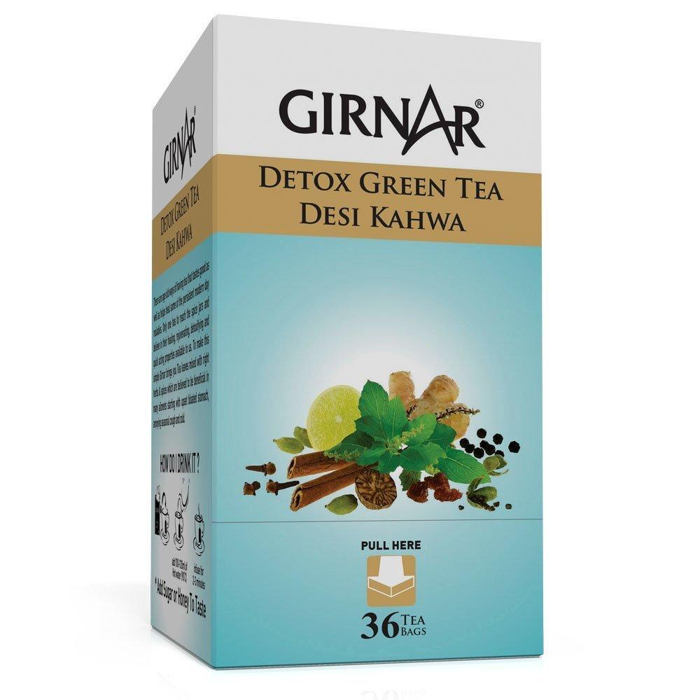 Amazon.com : Girnar Detox Green Desi Kahwa ( green tea) - 36 Teabags ...