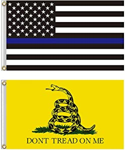 Shmbada American Thin Blue Line Flag and Gadsden Flag Kit with Brass Grommets, Premium Polyester Double Stitched Vivid Color Anti Fading, Outdoor Indoor Yard House Garden Porch Flag, 3x5 Ft, 2 Pack