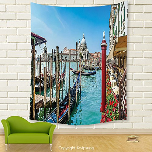 Vipsung House Decor Tapestry_Wanderlust Decor Collection Gondola In Canal Grande With Basilica Di Santa Maria Della Salute In The Sunny Day Image Teal Red Blue_Wall Hanging For Bedroom Living (Canal Panda Halloween)