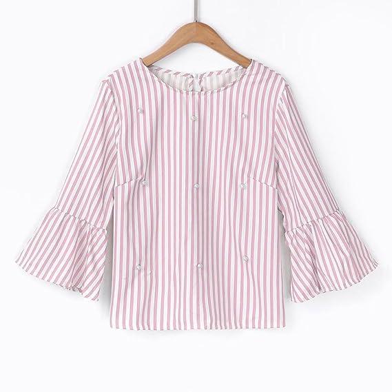 Longra ✓Top de rayas casuales de las mujeres de moda camiseta de manga flare rebordear