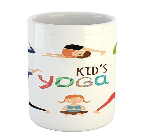 Amazon.com: Ambesonne - Taza de yoga, diseño divertido de ...