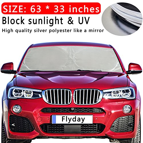 Flyday Auto Car Sun Shade Foldable Windshield - Block Out 99% UV Rays Heat & Snow Sun Visor Protector, Sunshade To Keep Your Vehicle Cool, Fits Trucks SUVs Vans(Standard 63 x 33 inches) (Auto Snow)