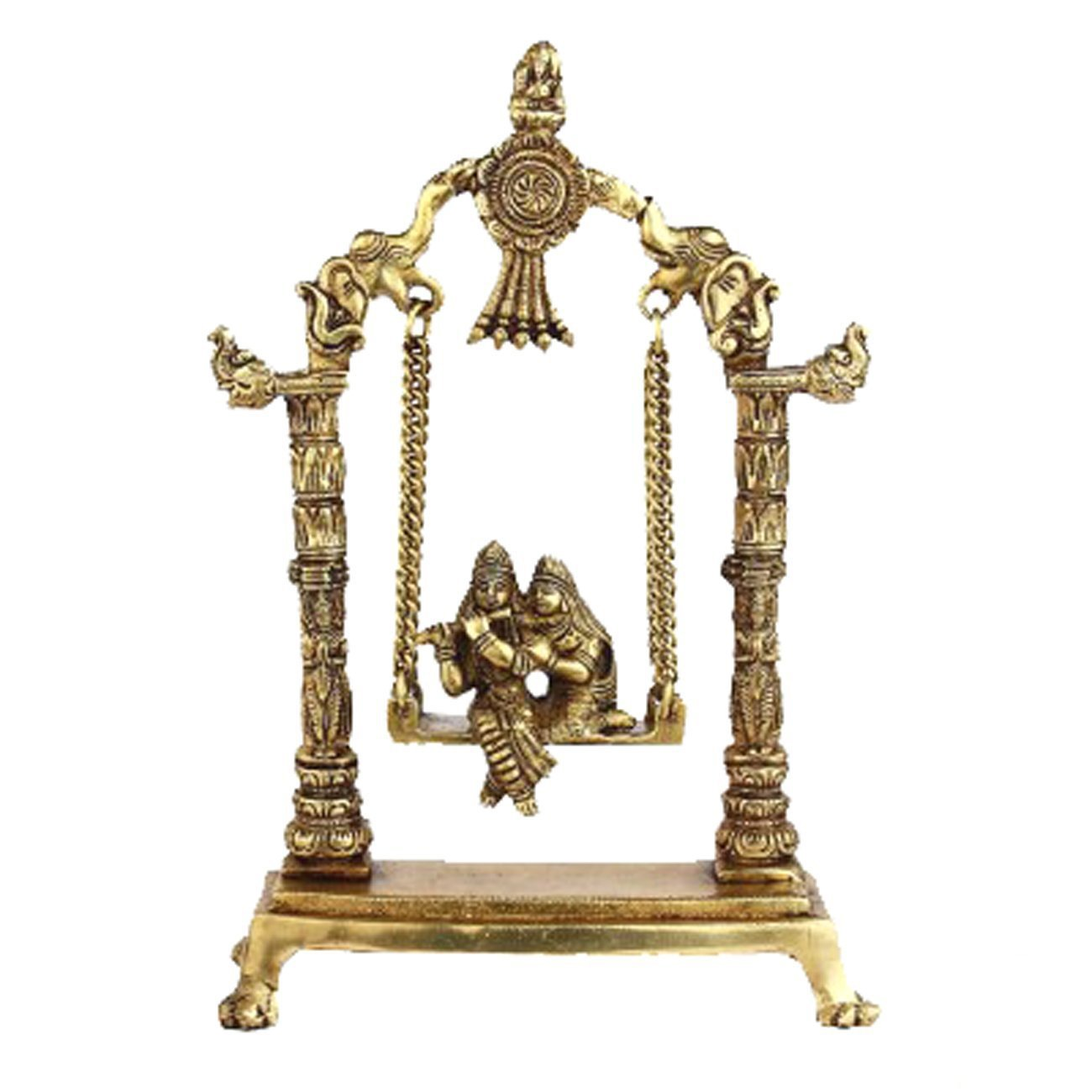 Idol Collections Radha Krishna Sitting On A Swing Brass Statue Golden