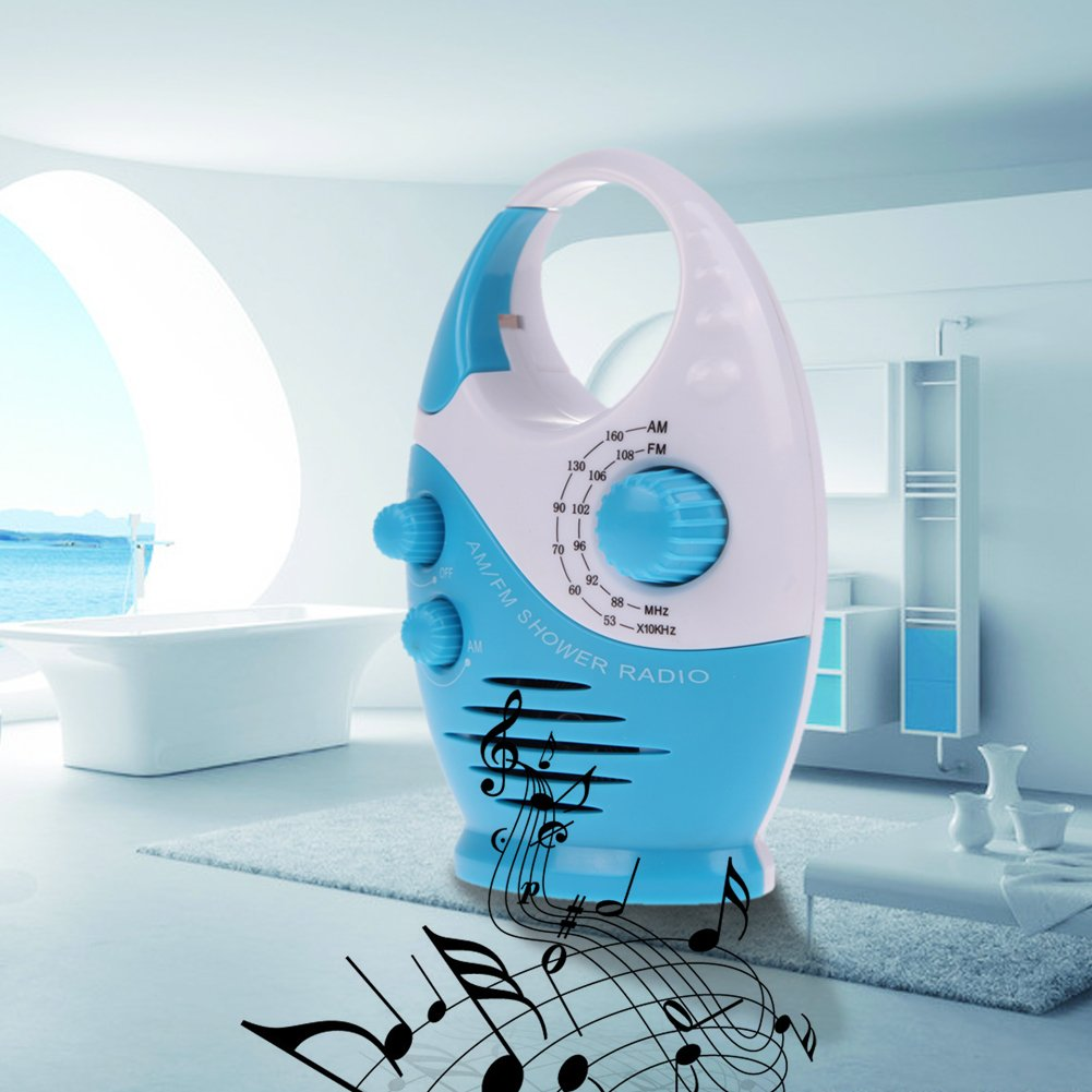 Vanpower Portable Mini AM FM Waterproof Hanging Bathroom Shower Music Radio ,Blue