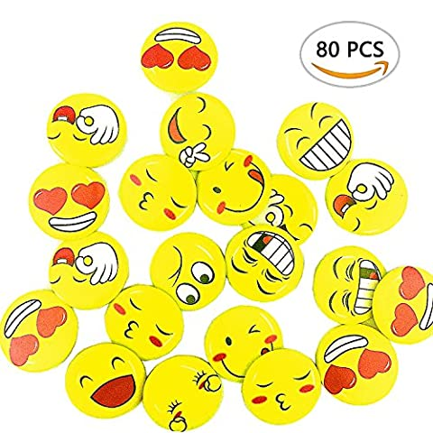 A Little Lemon Mini Metal Smiley Smile Face Button Pins,1.2 Inch Size - 80 Pack (Assorted Broaches)