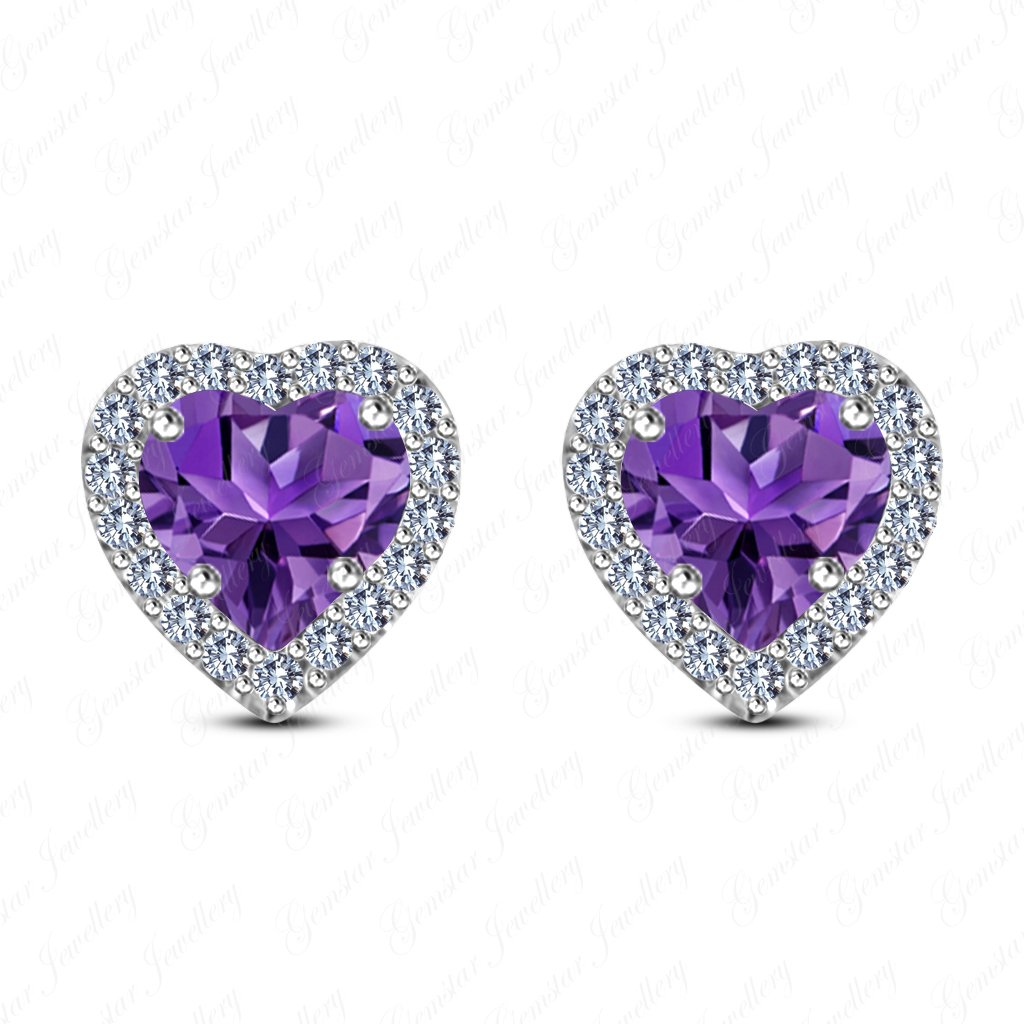 Gemstar Jewellery Engagement Halo Stud Earrings With Heart Shape Amethyst 18K White Gold Plating