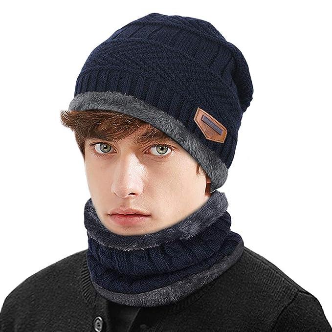 Sombrero de invierno de punto cálido y bufanda circular con forro polar  Mujeres   Hombres Deportes aa88ec650c9