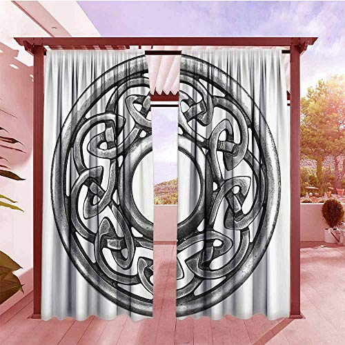 (Outdoor Rod Pocket Curtains Celtic Decor Collection Royal Style Circular Celtic Pattern Graphic Print Metal Brooch Design Scottish Shield Image Set of 2 Panels W120x84L Silver)