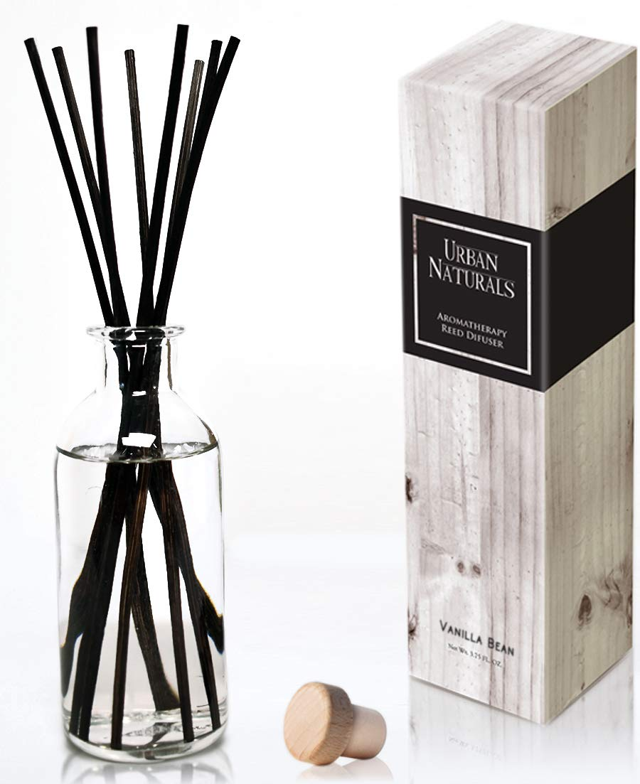 Urban Naturals Vanilla Bean Scented Oil Reed Diffuser Gift Set | Vanilla Cream, Amber & Sweet Tonka Bean | Kitchen-Bathroom-Bedroom-Living Room Decor | Made in The USA