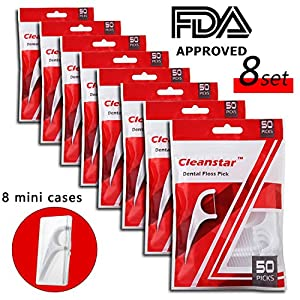Dental Floss Pick Flosser with 8 mini Travel Cases, 400 Picks by FAMILIFE