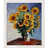 overstockArt MON1478-FR-994420X24 Monet Sunflowers with Simply White Clean Line Wood Frame