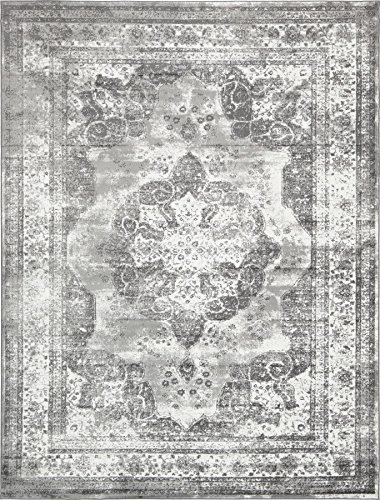 Traditional Persian Vintage Design Rug Gray Rug 8' 11 x 12' FT (366cm x 274cm) Sofia Area Rug Inspired Overdyed Distressed Fancy