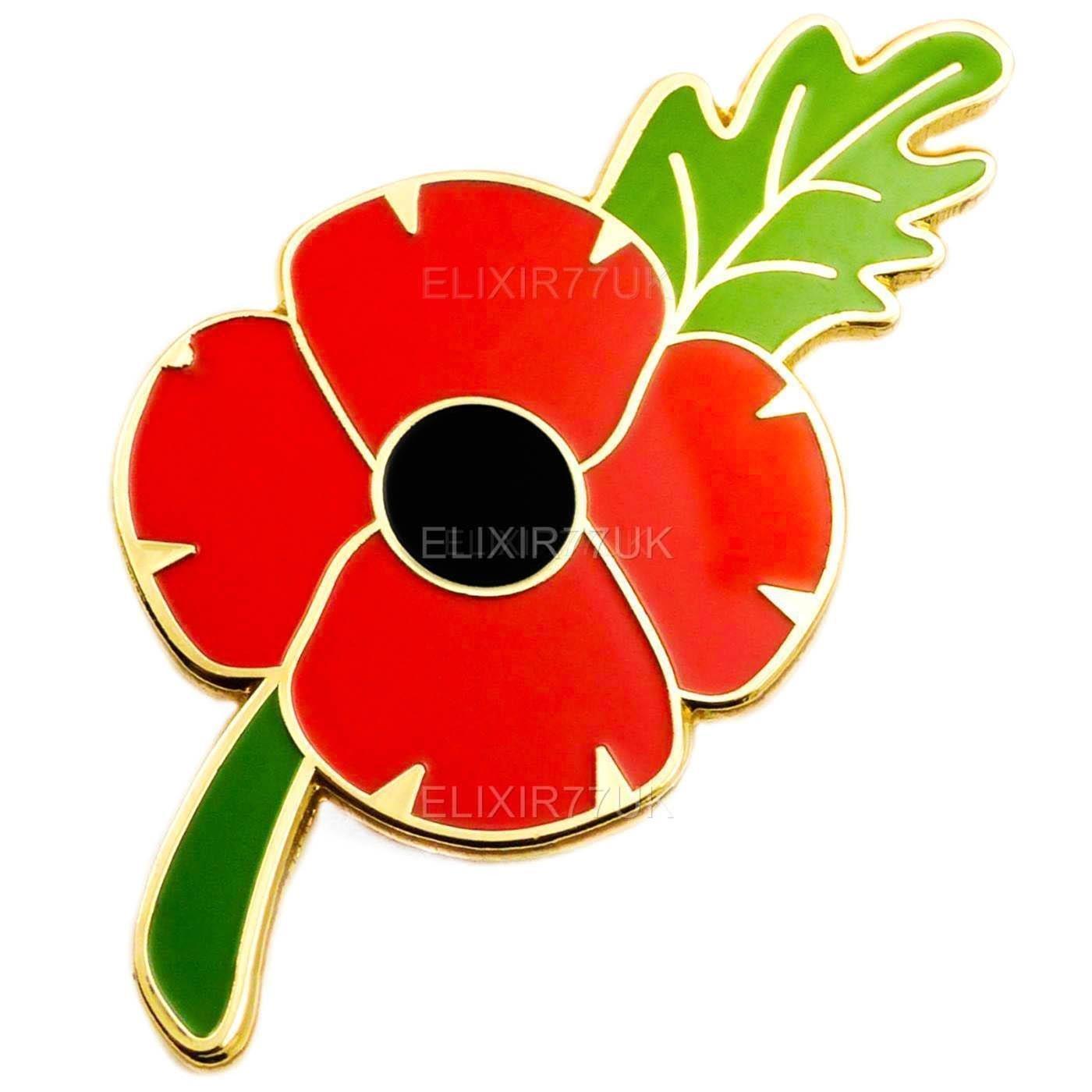 Britishpaper New Large Red Poppy Flower Lapel Pin Enamel Badges