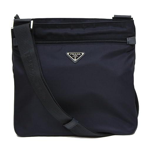 e94cf8573491 Prada Navy Blue Tessuto Nylon   Saffian Leather Crossbody Messenger Travel  Bag 2VH563  Amazon.ca  Shoes   Handbags