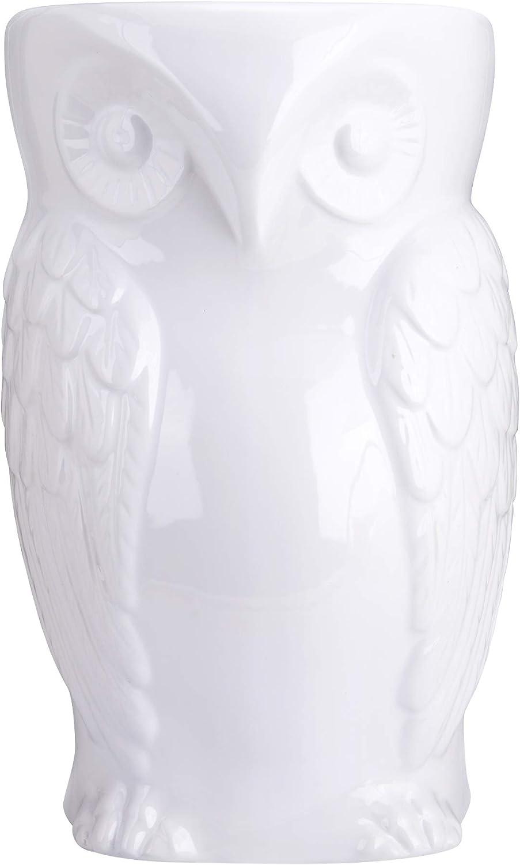 "fanquare Owl Ceramic Decorative Garden Stool,Animal Stool,White,17"""