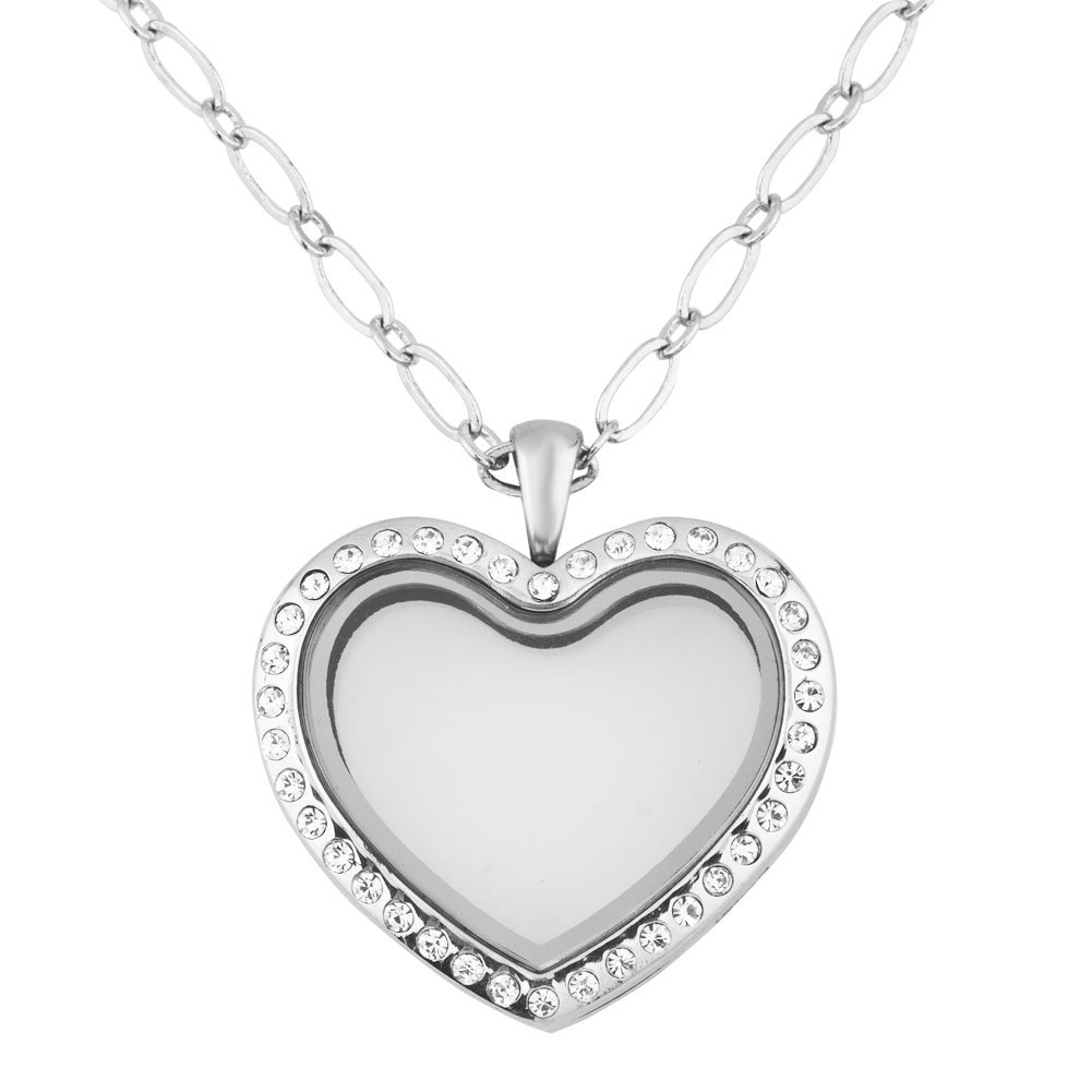 Cory Keyes Heart Round Guitar Glass Locket Necklace For Living Memory Floating Charms (Heart Style1)