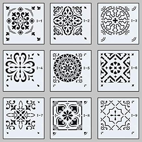 Unime Mandala Stencils Template,Mandala Wall Stencil for Painting (8X8 inch) - Reusable Laser Cut Stencils Art for Fabric Floor Furniture Wood Ceramic Tile and Home Décor,9 Pack ()