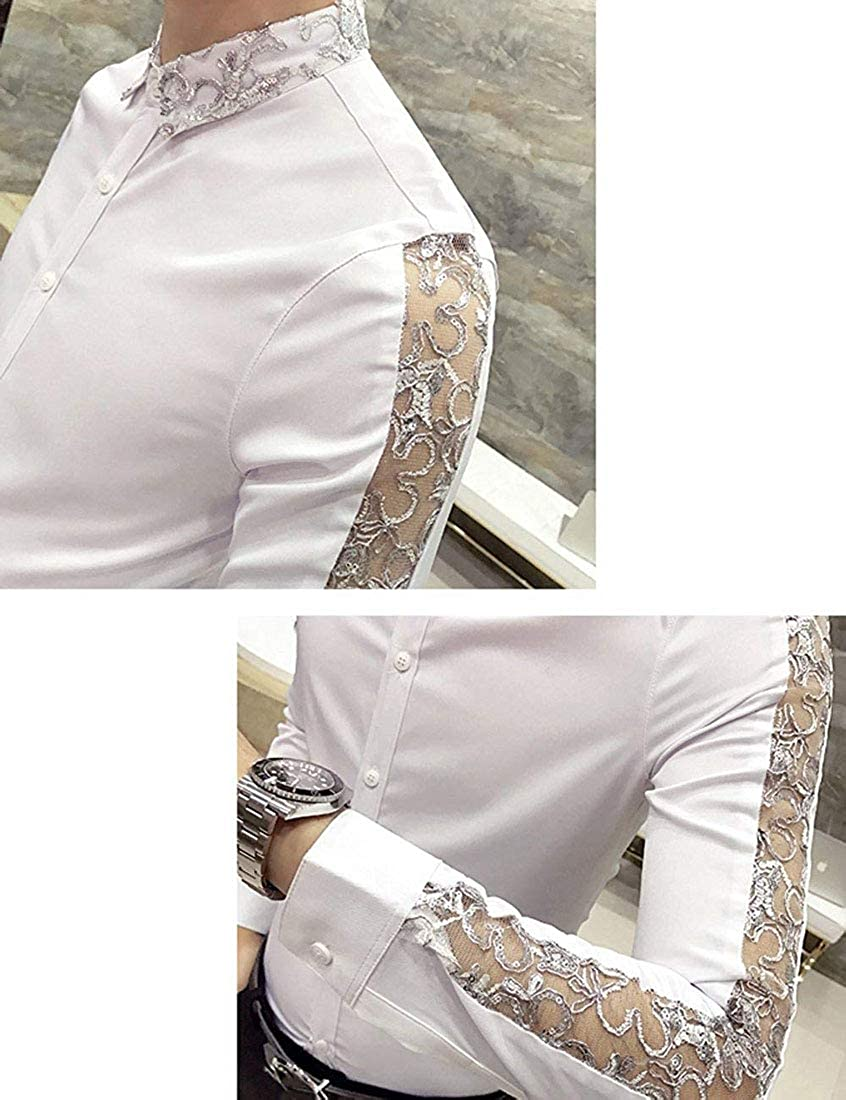 CrazyBegin Men Splice Hollow Out Long Sleeve Skinny Lace Trend Shirt Casual Shirts