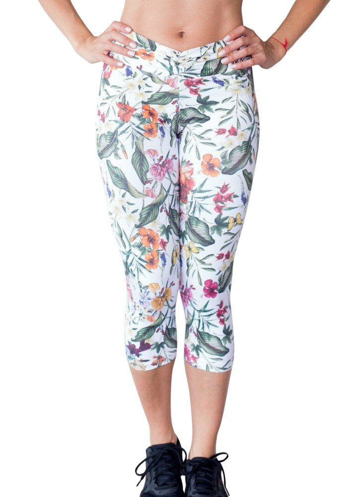 Women's Up Vibe Fall Obsession White Floral Prints Scrunchy Waist Capri Leggings by Up Vibe Fitness Wear