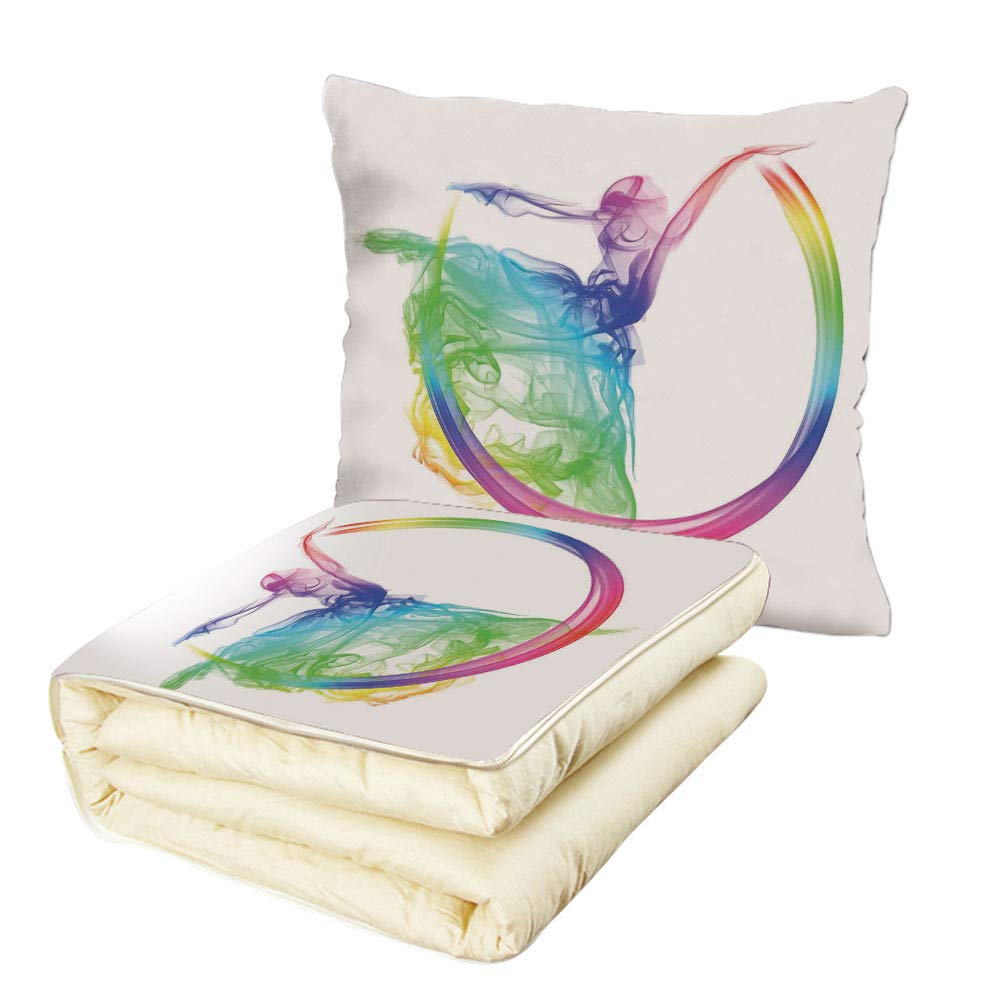 iPrint Quilt Dual-Use Pillow Abstract Home Decor Smoke Dance Shape Silhouette of Dancer Ballerina Rainbow Colors Fantasy Decorative Multifunctional Air-Conditioning Quilt