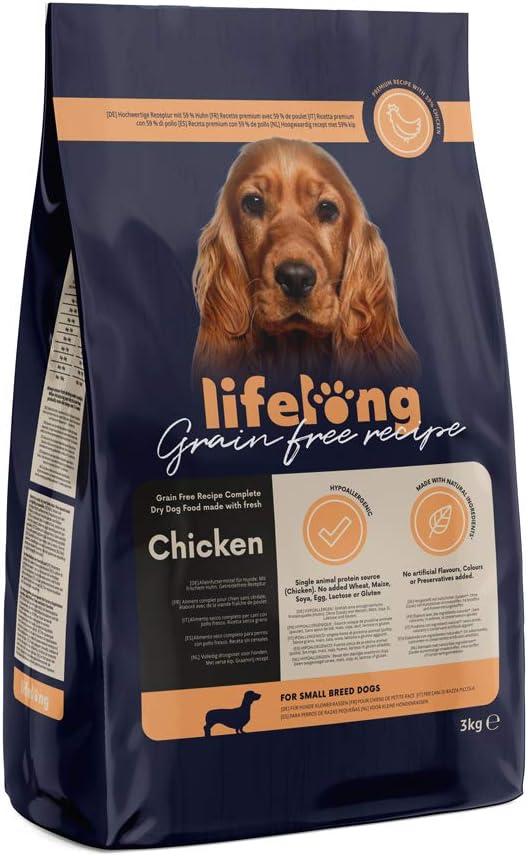 Marca Amazon - Lifelong Alimento seco completo para perros de razas pequeñas con pollo fresco, receta sin cereales - 3kg
