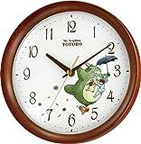 となりのトトロ キャラクター 掛け時計 アナログ トトロ M27 木 茶 半艶仕上 リズム時計 8MGA27RH06