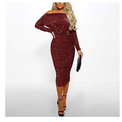 cd7970842c7 Amazon.com  Midress Women Sequins Long Sleeve Off Shoulder Party ...