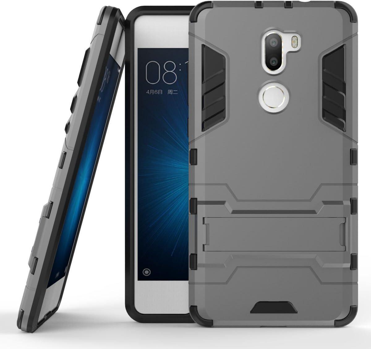 Funda para Xiaomi Mi 5S Plus (5,7 Pulgadas) 2 en 1 Híbrida Rugged Armor Case Choque Absorción Protección Dual Layer Bumper Carcasa con Pata de Cabra (Gris)