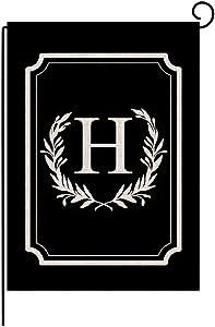 """Titiyogo Garden Flag Monogram Flag Letter H Vertical Double Sided Burlap Flag 12.5"""" x 18"""" Farmhouse Yard Beach Outdoor Decor"""