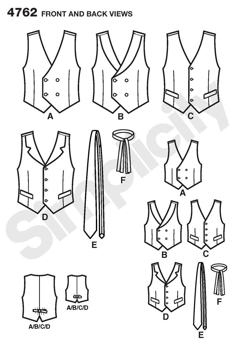 Simplicity Sewing Pattern 4762 Boys and Men Vests and Ties, A ...
