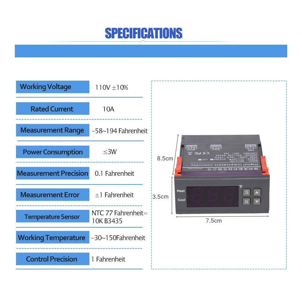 Docooler Digital Temperature Controller Thermocouple Mm 2 58t Wiring Diagram For Thermostat With Sensor 58194f 10a 110v Home Improvement