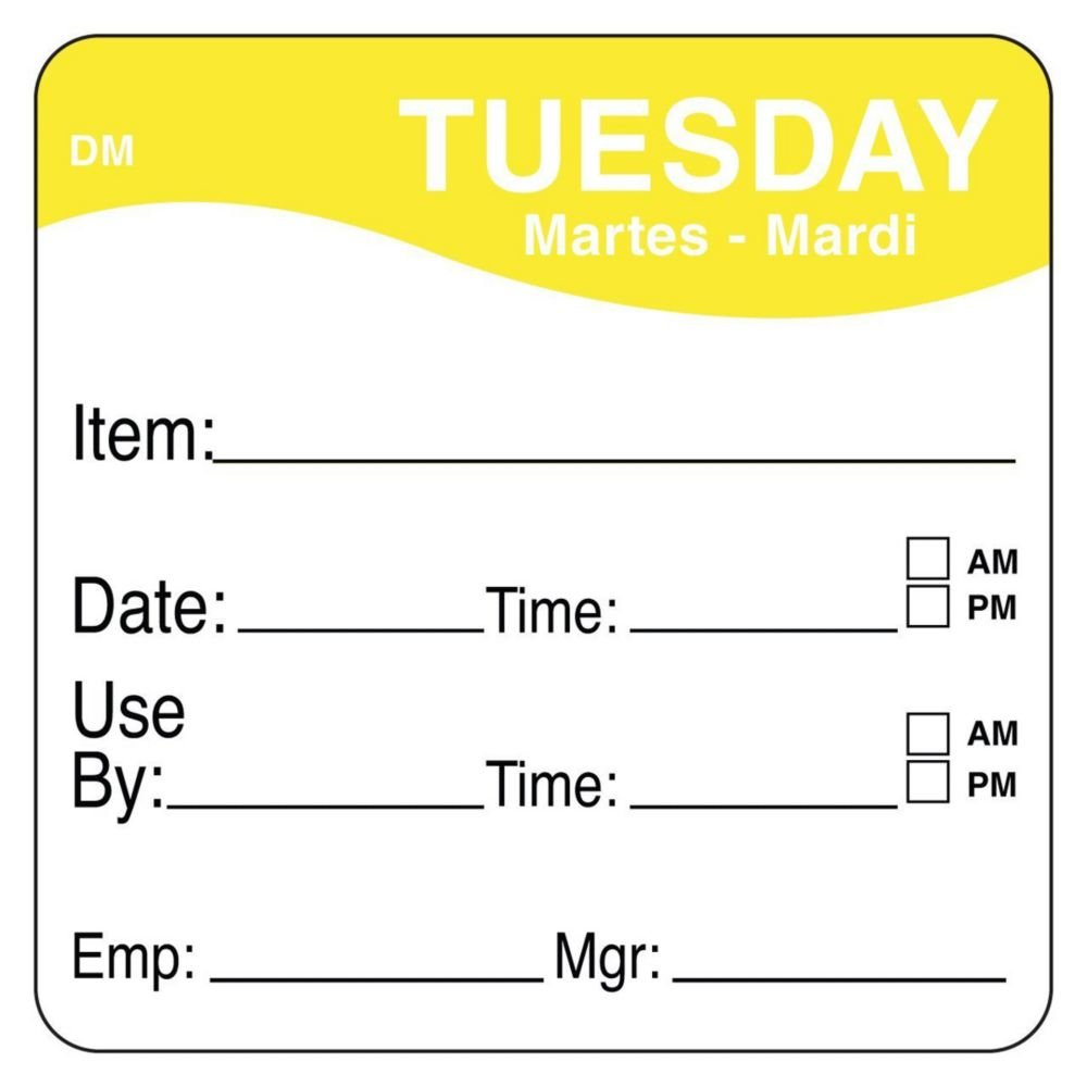 DayMark 1100532 DissolveMark 2'' Tuesday Use By Day Square - 250 / RL