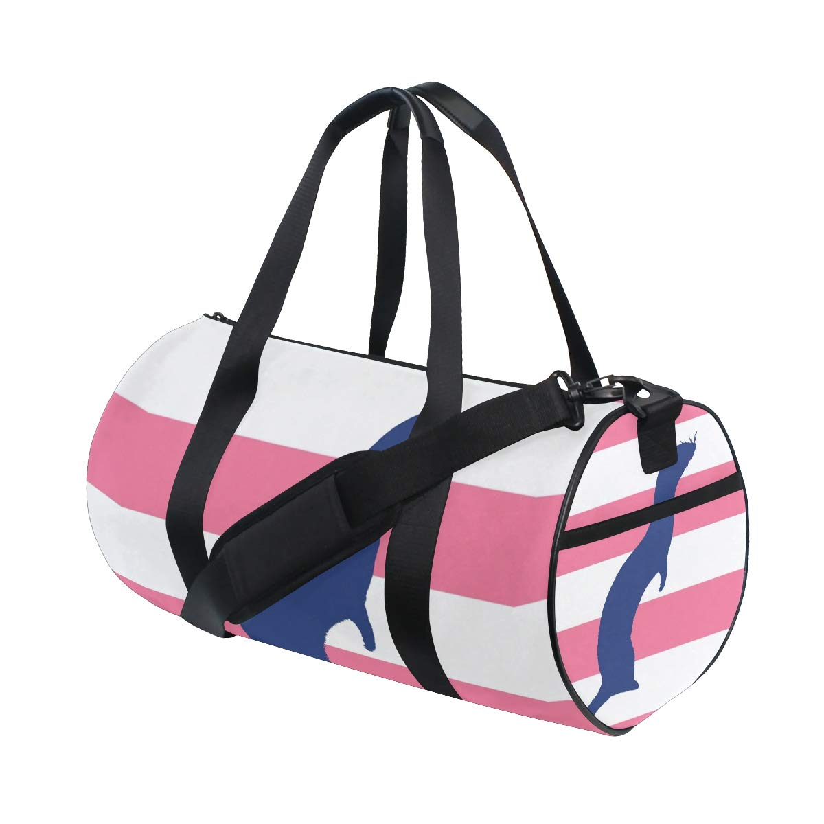Travel Weekender Duffel Bag for Man and Woman Gym Bag with Ferret Pet Pink Striped Print