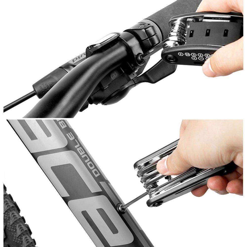 16/en 1/Multifonction Portable Outil de r/éparation de v/élo Leezo Bike Outil de r/éparation Kits 3/leviers de Pneu 8/durgence Glue-Less Correctifs et r/âpe en m/étal
