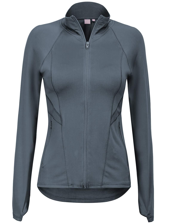 Regna X Women's Full Zip Up Plus Size Moisture Wicking Track Jacket Grey S