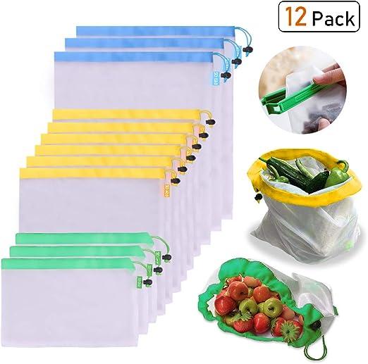 OUNONA Bolsas Compra Reutilizables Ecol/ógicas Bolsa de Malla para Almacenamiento Fruta Verduras Juguetes Lavable y Transpirable 3 Diversos Tama/ños 12 Unidades