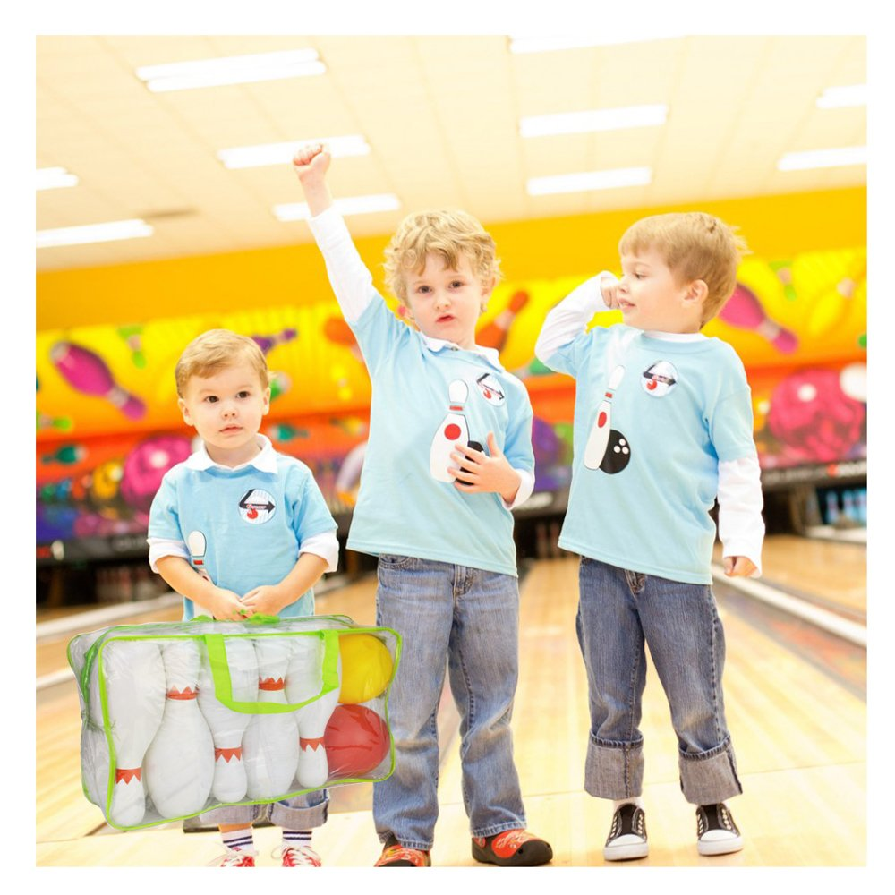 Sports Bowling Toys Play Sets for Kids Toddlers Big Large 10 Pins and 2 Balls Zipper Bag Plastic