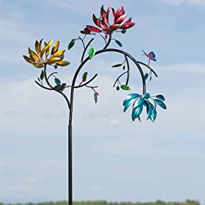SAINGACE Large Metal Wind Spinner with Three Spinning Flowers and Butterflies Windmill for Yard and Garden Outdoor Art Decoration, Yard Lawn Garden Decorations (A)