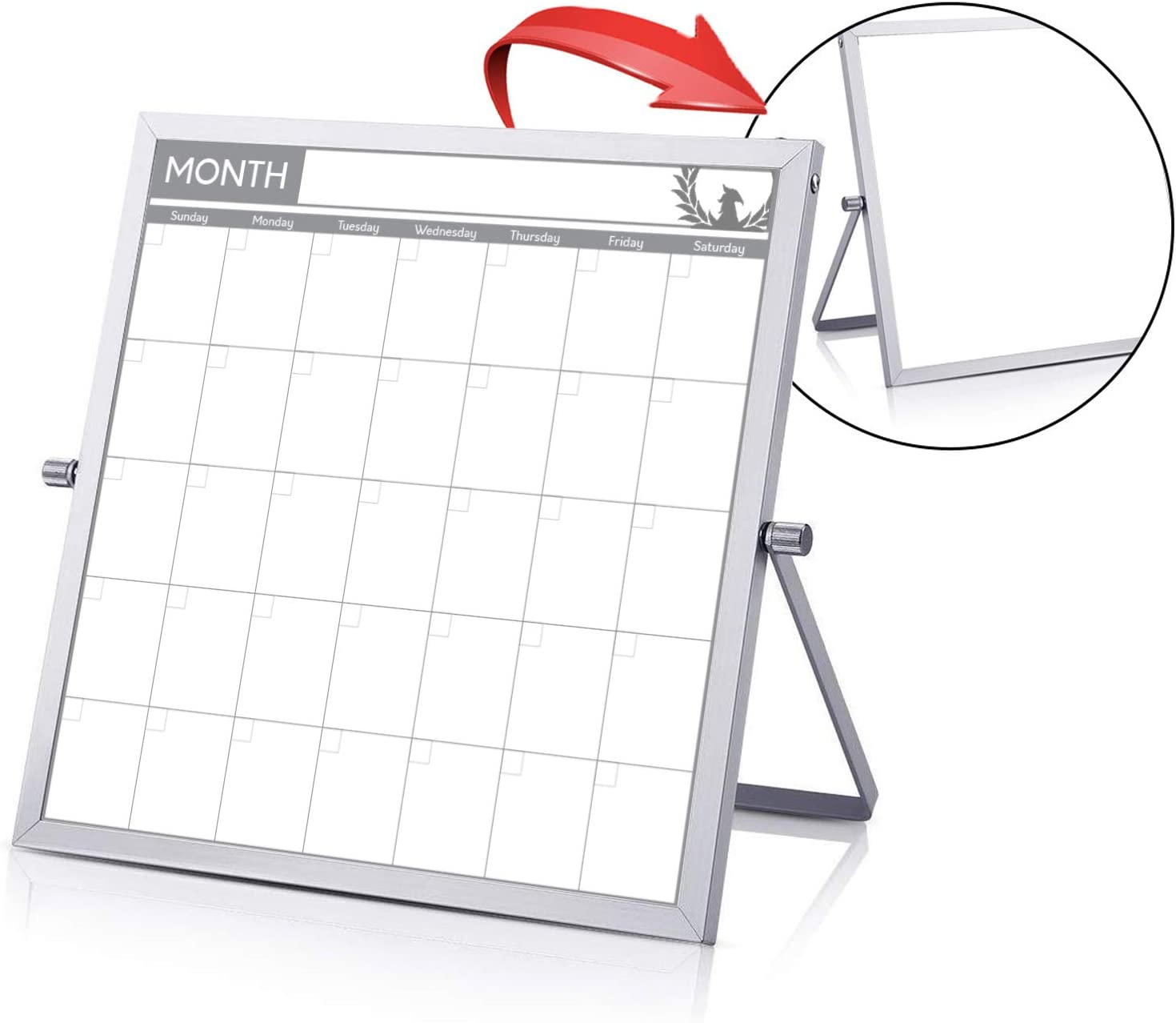 "Small Double Sided White Board Calendar - Mini Portable Desktop Dry Erase Board with Stand & Small Monthly Calendar Whiteboard Planner with Reversible to Do List - 10"" x 10"" - Desk, Office, and Home"