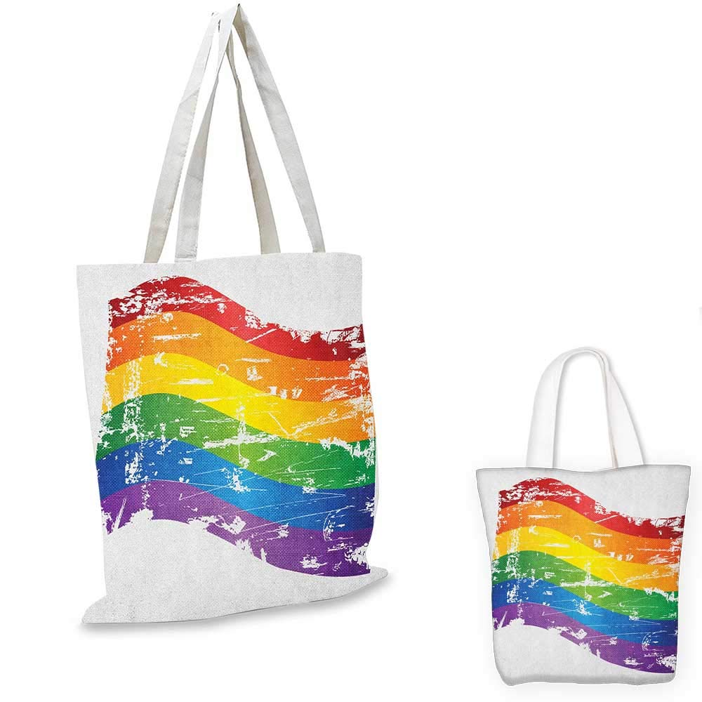Vintage Rainbow canvas messenger bag Ragged Aged Vertical Stripes with Retro Halftone Effects Dirty Grained Look canvas beach bag Multicolor 12x15-10
