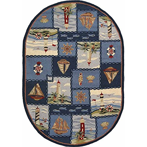 Safavieh Chelsea Collection HK267A Hand-Hooked Blue Premium Wool Oval Area Rug (4'6