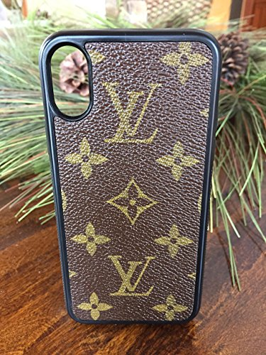 Handmade-iPhone-X-case-covered-with-repurposed-Louis-Vuitton-canvas