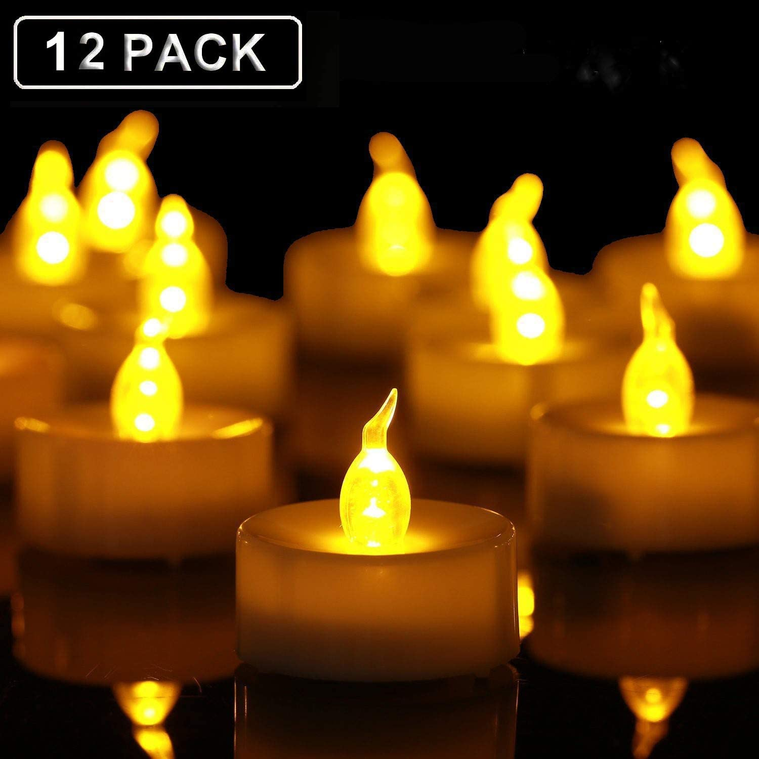 Ideal for Parties Weddings Birthdays Tea Lights,Flameless LED Tealight Candles,Flickering Warm Yellow 100+ Hours Battery Operated LED Tea Lights Candles 12 Pack Gifts and Home.